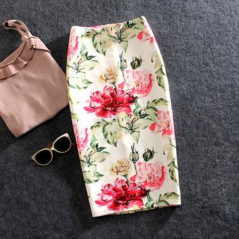 Kobiety spódnice letni nadruk kwiaty spódnica ołówkowa spódnice na co dzień do kolan Plus rozmiar Faldas Mujer Moda Jupe Femme tanie i dobre opinie Poliester COTTON Ołówek WOMEN Naturalne Drukuj
