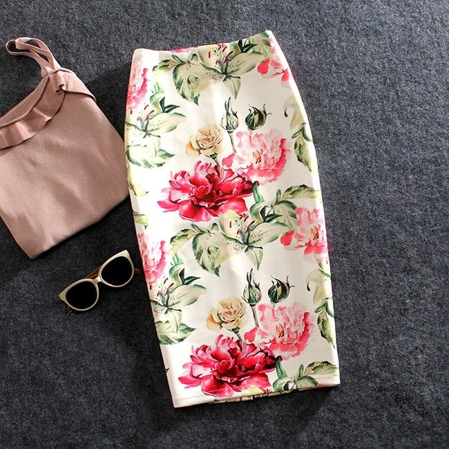 Mulheres Saias de Verão Flores Impressão Saia Lápis Saias Casuais Na Altura Do Joelho-Comprimento Plus Size Faldas Mujer Moda Jupe Femme