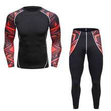 Men's Print T-Shirts & Pants Compression Skin-Tight Long Sleeve Quick Dry Wear Fitness Clothing Set MMA 3d print men's set M-2XL