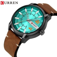 CURREN Top Brand Luxury Fashion Unique Green Dial Quartz Men Watches Leather Strap Business Wrist Watch Relogio Masculino relogio masculino hot luxury men s watches faux leather band black dial fashion business wrist quartz watch men top quality