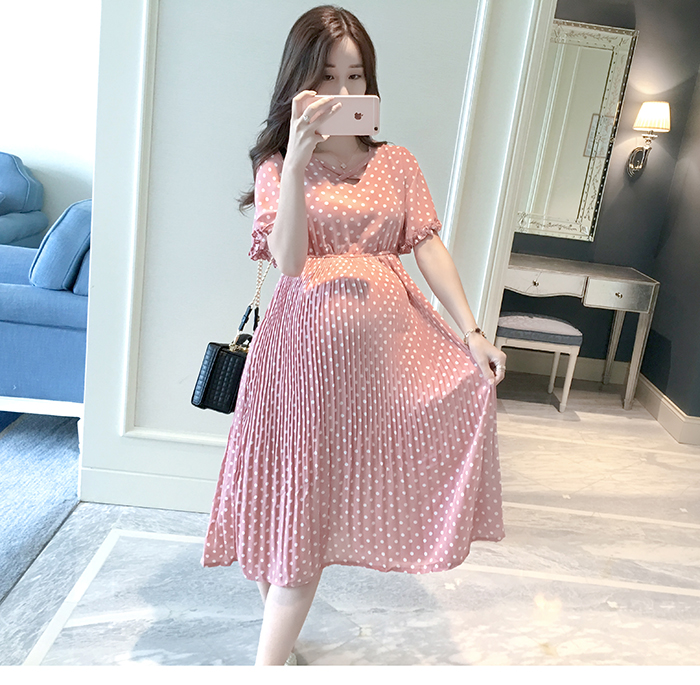 Casual Long Pregnancy Dresses For Women Short Sleeve Loose Maternity Dresses Summer New Chiffon Pregnant Dress Maternity Clothes (7)