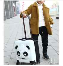 Panda Kid Travel luggage suitcase Trolley bags on wheels Kid wheeled carry on baggage Spinner  Children Rolling suitcase for Boy