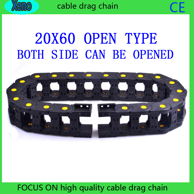 20x60mm 10 Meters Open Type Reinforced Nylon Wire Carrier With Yellow Points For CNC Route Machine best price 25 x 77 mm l1000mm cable drag chain wire carrier with end connectors for cnc router machine tools