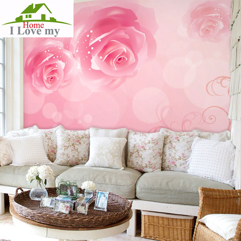 pink rose wallpaper for walls 3 d landscape wall mural Living room ...