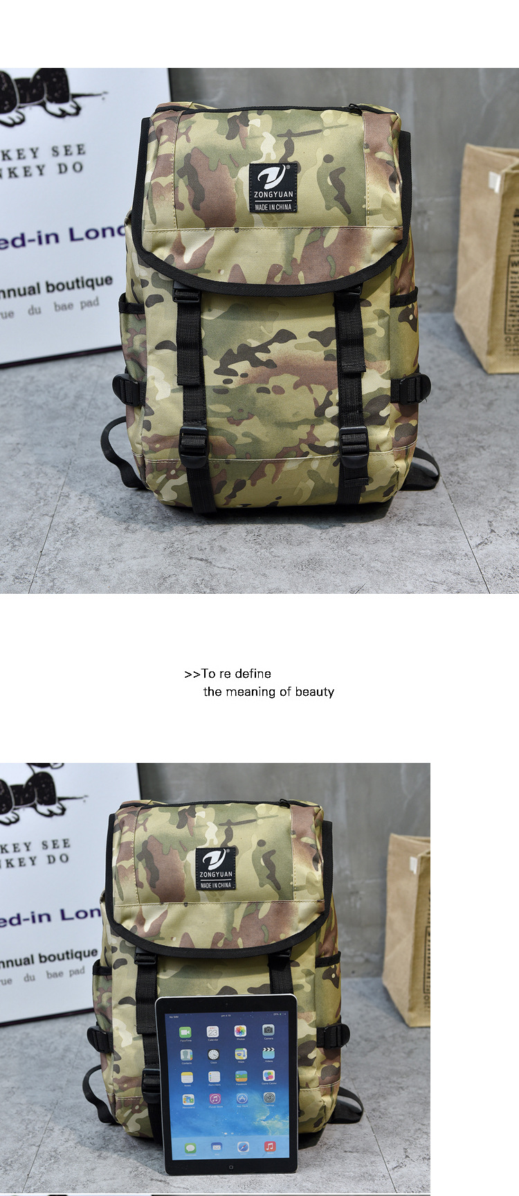 9554f1a557 2018 Fashion Men Camouflage Backpack Male Travel Waterproof Unisex ...