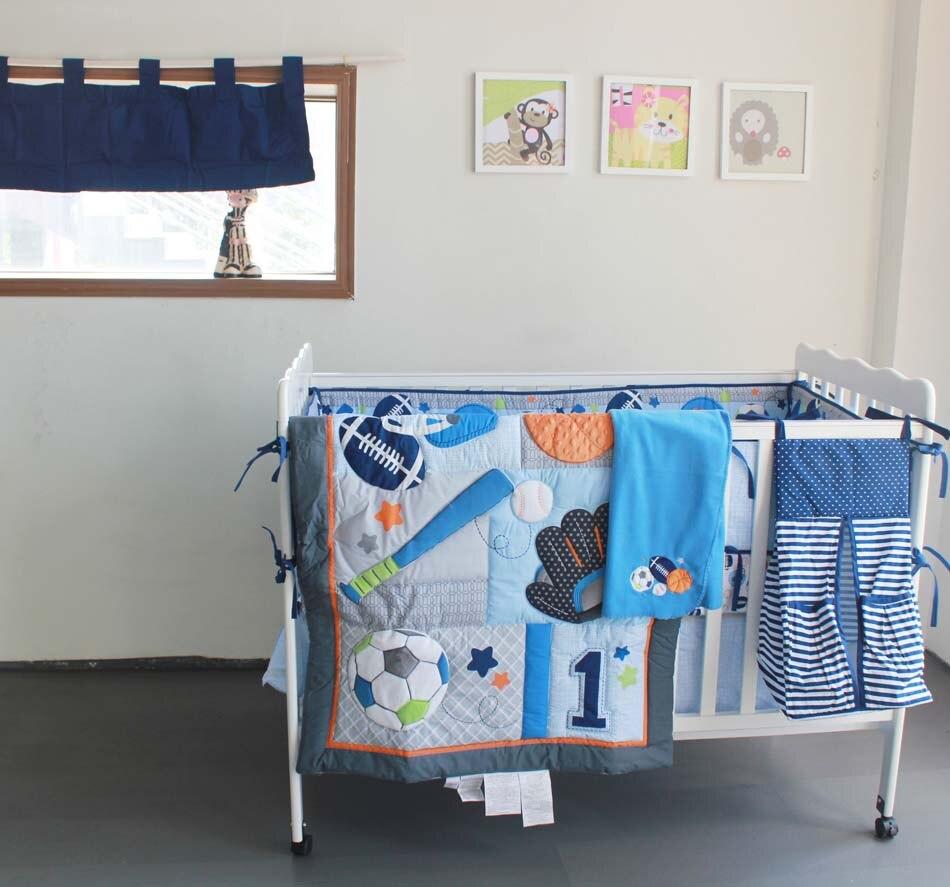 Sports bedding sets - 6 Pcs Embroidered Baby Bedding Set Crib Set Sports Style Baseball Football Quilt