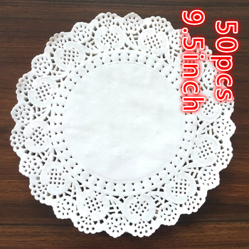 50PCS 9.5inch Diameter 24cm White Napkin Hollowed Lace Paper Mads Doily Decoupage Crafts Cake Making/Wedding Decoration image