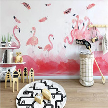 Simple hand-painted flamingo feather background wall professionally made murals, wallpaper wholesale, custom photo wall physics made simple
