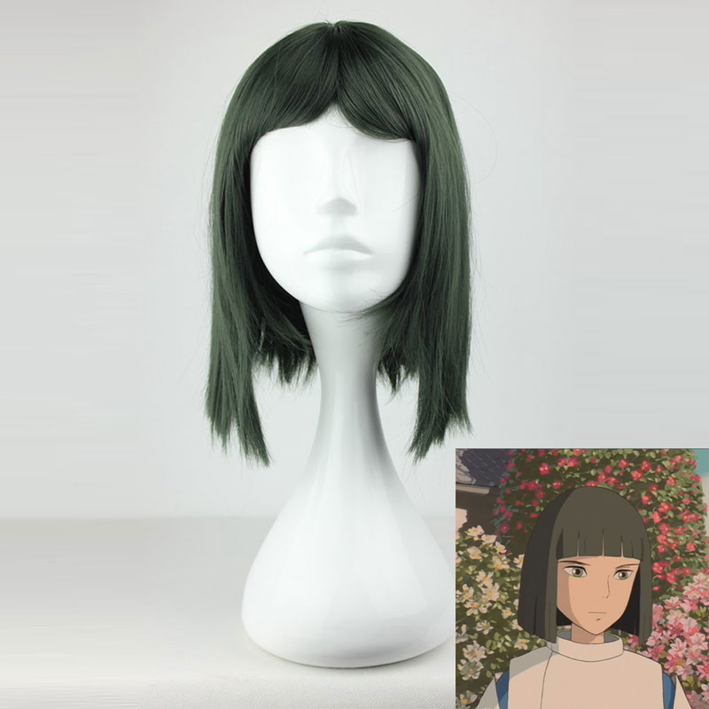 Anime Spirited Away Wig Nigihayami Kohakunushi Cosplay Wig Dark Green Hair For Men Halloween Carnival Party Wig Cosplay Props A Plastic Case Is Compartmentalized For Safe Storage
