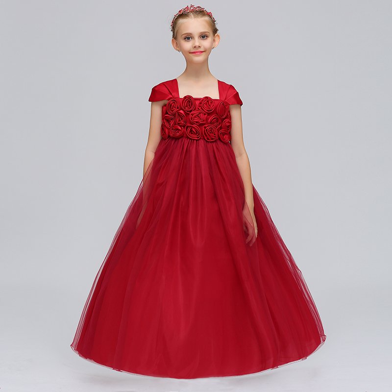 Elegant Cap Sleeves   Flower     Girls     Dress   With Ruffled Mesh   Girls   Princess Summer Party Long Prom   Dress   2019