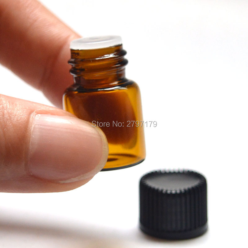 Free Shipping 10pcs 2ml Mini Amber Glass Bottle with Orifice Reducer and Cap Small Essential Oil Vials