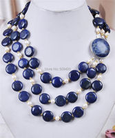 W&O653 >>>3Rows White Akoya Cultured Pearl & Genuine Coin Lapis Lazuli Jewelry Necklace