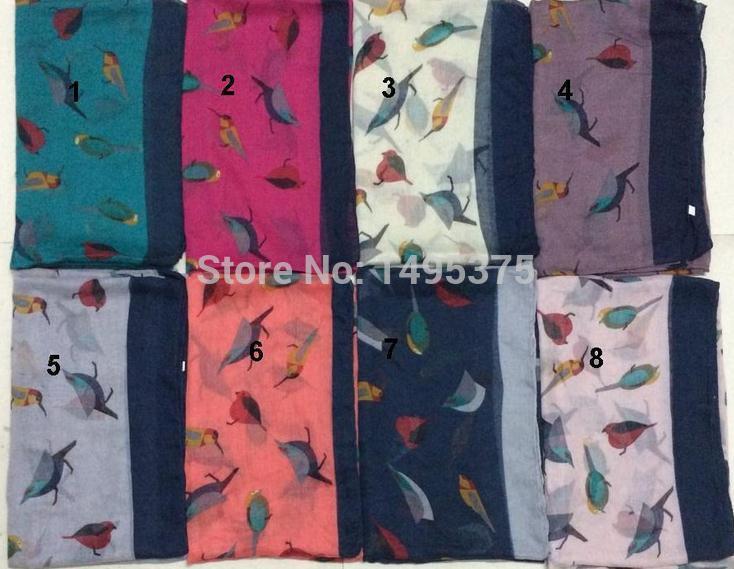 50pcs lot Lucky Bird scarf shawl pashmina bird print scarf