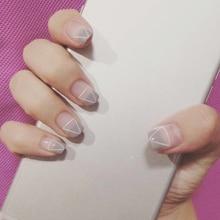 Fashion 24 pcs/set Light gray French triangle design short size finished false nail,full Nails tips,lady finger art tool ALI-24