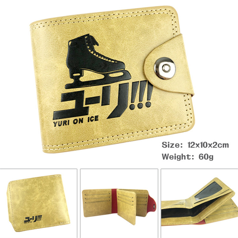 Yuri On Ice Fancy Skate Cartoon Anime Men Women Boys Girls Short Leather Hasp Button Wallet Purse Money Holder