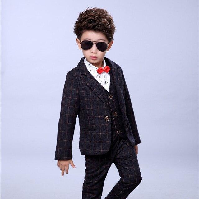 1b44cfd1a Trajes formales para niños para bodas estilo inglés niños fiesta azul trajes  Blazer + Pantalones +
