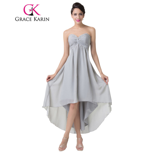 7de857a45fb Grace Karin Sweetheart Ruched Grey Prom Dresses Short Front Long Back Sexy  Party Gown Beaded and Sequins Chiffon CL6216