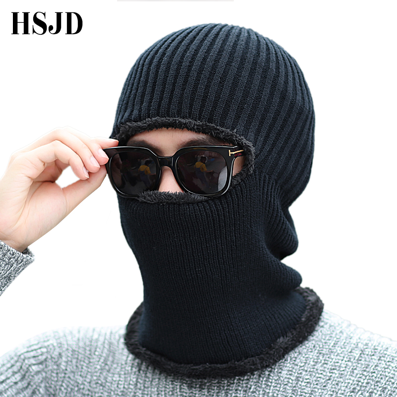 Men Winter Outdoor Ski Cap Balaclava Mask Black Knit Hat Face Neck Protection Thick Scarf Mask   Skullies     Beanies   Knitted Hat Male