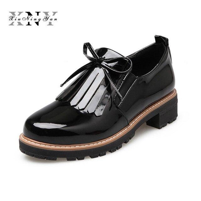 7e7ea65e38a 2017 New Spring Fringe Shoes Women Platform Patent Flats Shoes Lace Up Loafers  Women Brogue Shoes Female Plus Size 43