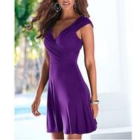 Fashion Women Short mini Dress Sleeveless V Neck Sexy Slim Party Dress Pleated Empire Waist A Line beach Dress LJ4865M 1