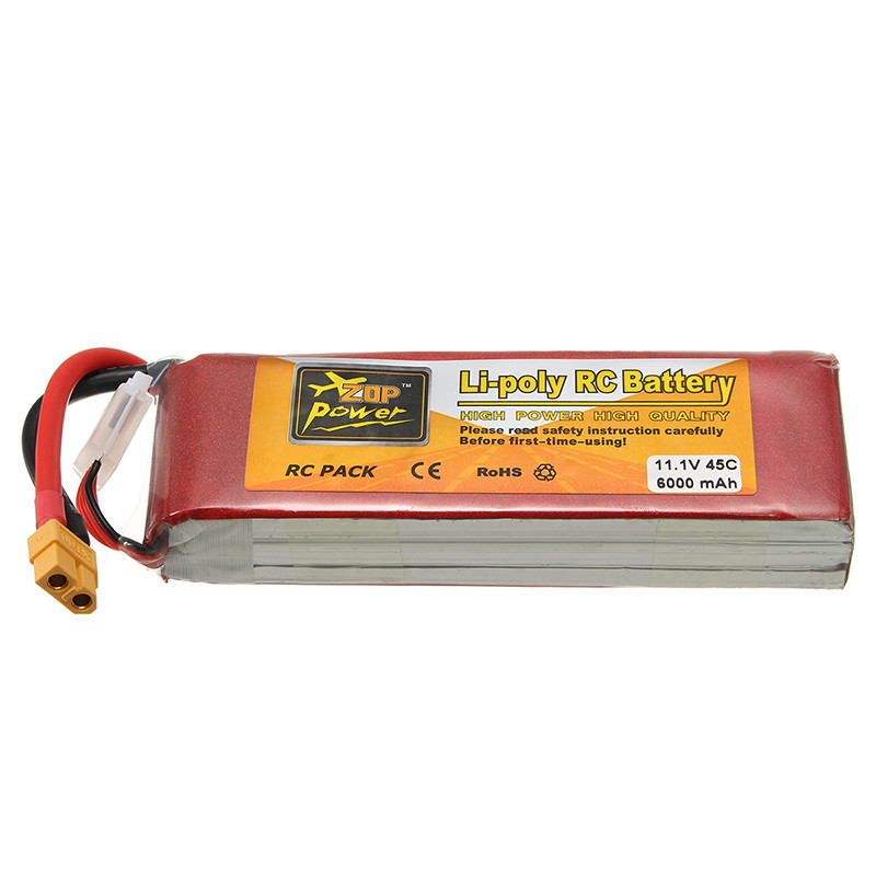 Rechargeable Lipo Battery ZOP Power 11.1V 6000mAh 45C 3S Lipo Battery XT60 PlugRechargeable Lipo Battery ZOP Power 11.1V 6000mAh 45C 3S Lipo Battery XT60 Plug