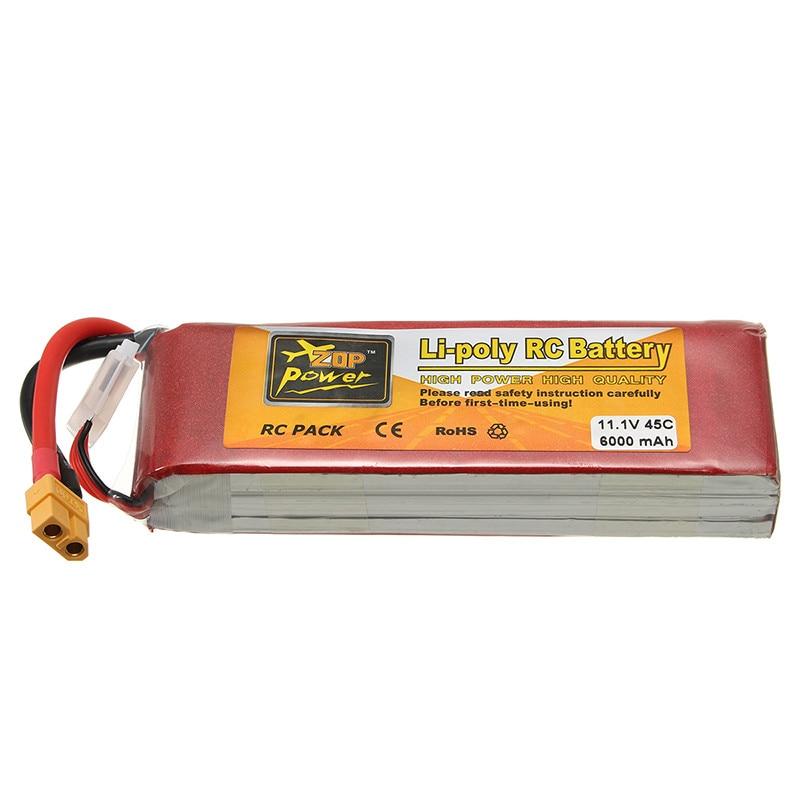 Rechargeable Lipo Battery ZOP Power 11.1V 6000mAh 45C 3S Lipo Battery XT60 Plug