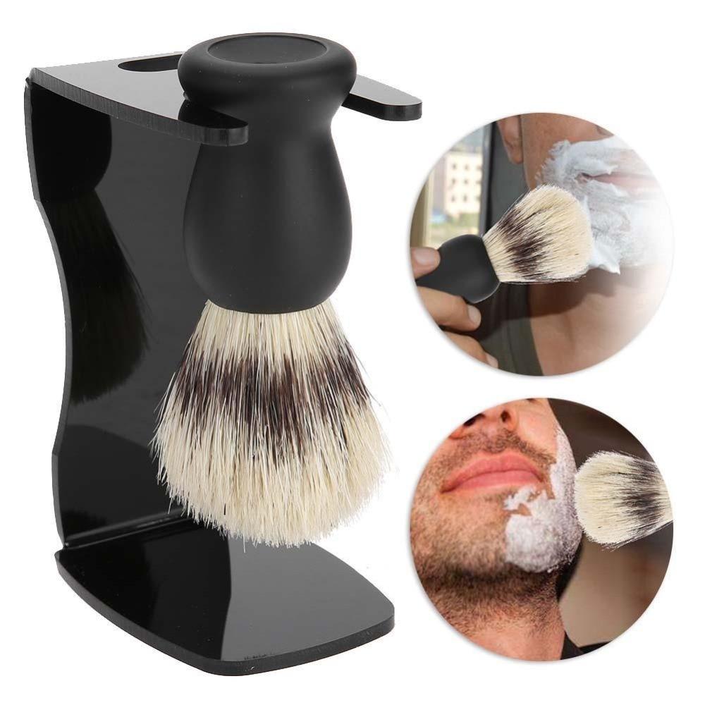 ZY 3in1 Shaving Brush Set ,Cleaning Tool Shaving Frame Base + Soap Bowl + Boar Bristles Hair Shaving Brush