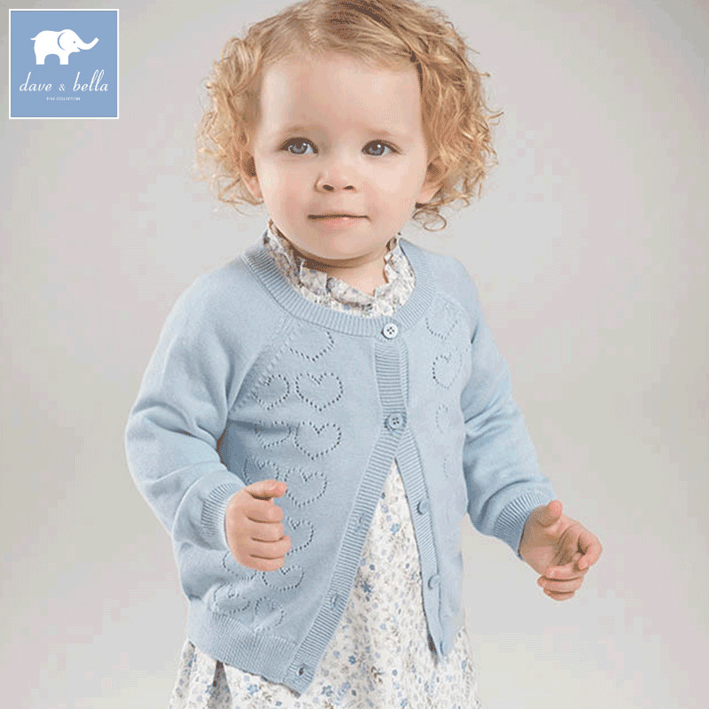 DB7357 dave bella spring infant baby girls fashion cardigan kids toddler coat cute children knitted sweater купить в Москве 2019