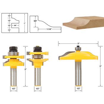"""3pcs 1/2"""" Shank Raised Panel Router Bit Cabinet Door Woodworking Cutter Set For Power Tools"""