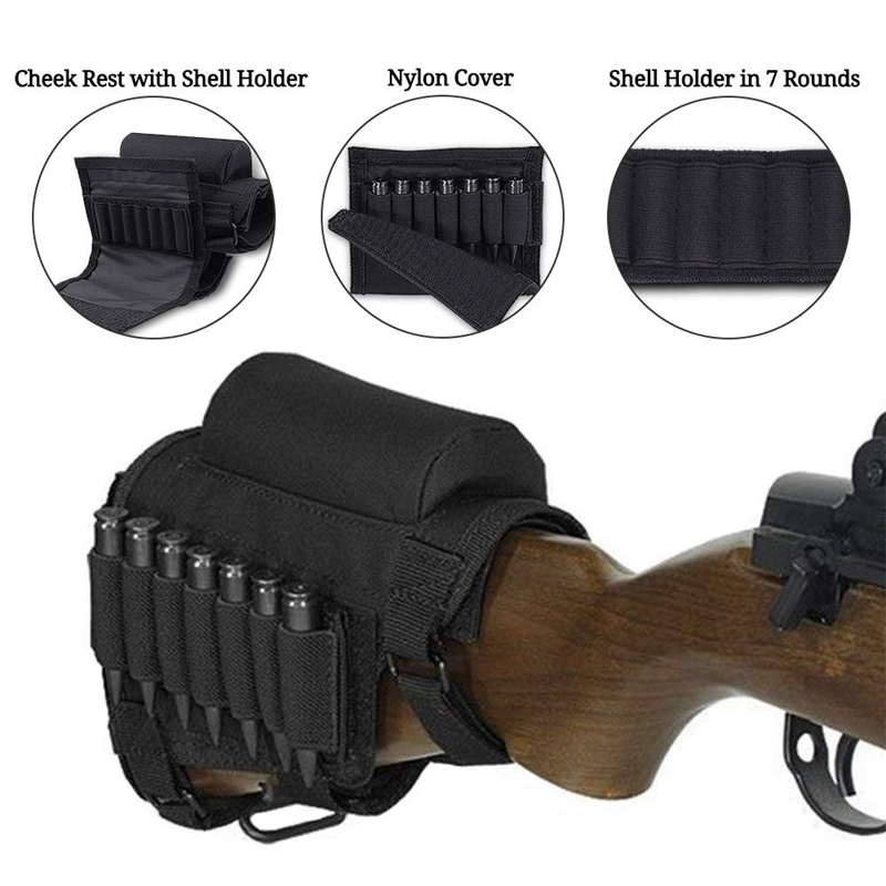 Tactical Buttstock Cheek Rest with Shell Holder for 7.62.308.300 Mag Rifle Shotgun Ammo Pouch Cartridges Hunting Gun Accessories 2