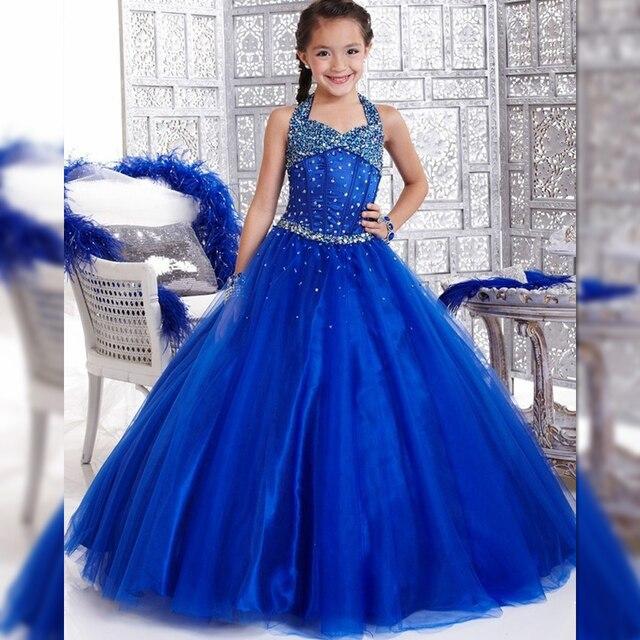 eb1efdb3710 Pageant Robes Enfants Robe De Soirée Bleu Perlé Taille 12 14 Bleu Royal  Fleur Filles Longues