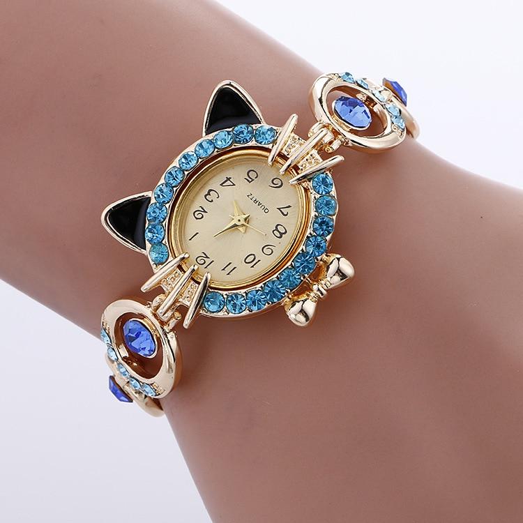 Crystal Cat Bracelet Wristwatch