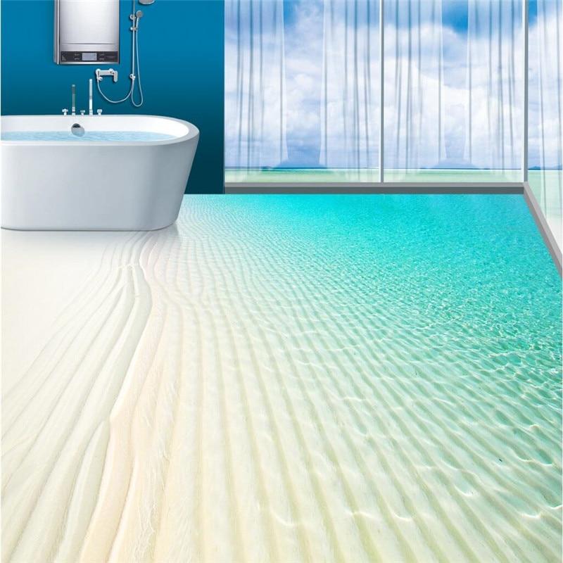 €15.98 42% de réduction|Beibehang revêtement de sol personnalisé peinture  plage tropicale infini mer ventilateur étanche antidérapant salle de bains  ...