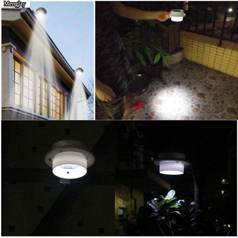 2x New Arrival! 3 leds light sensor control Solar Powered Fence Gutter Solar Lights, Outdoor Security Solar Lamps