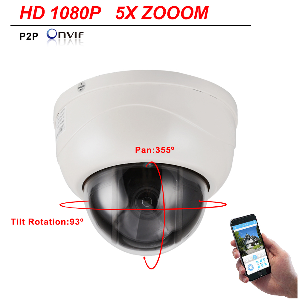 CCTV Security H.265 HD IP Camera 1080P 2MP Pan Tilt 5X Zoom 2.7~13.5mm Speed Dome PTZ Camera Ceiling Dome P2P Mobile View ONVIF