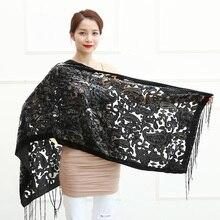 Предел Количество! Черный бархатный женский шарф кешью, зимнее пончо для вечеринки, мягкая выгорающая шаль, подарок для влюбленных