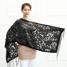 Limit Quantity ! Black Cashew Velvet Women Scarf Winter Evening Party Poncho Soft Burnout Shawl Gift For Lovers