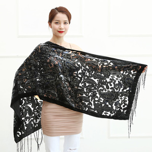 Image 1 - Limit Quantity ! Black Cashew Velvet Women Scarf Winter Evening Party Poncho Soft Burnout Shawl Gift For Lovers