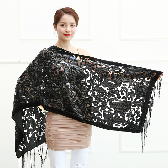9f77955236a9 Black Cashew Velvet Women Scarf Winter Evening Party Poncho Soft Burnout  Shawl Gift For Lovers