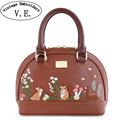 Vintage Embroidery Women Handbag Lady Brown Mori Girl Shell Rabbit Deer Leather PU Shoulder Messenger Bags Top-HandleTotes