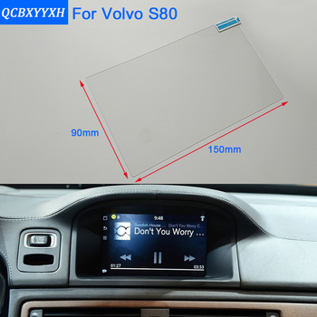 Car Styling 7 Inch GPS Navigation Screen Steel Glass Protective Film For Volvo S80 Control of LCD Screen Car Sticker image