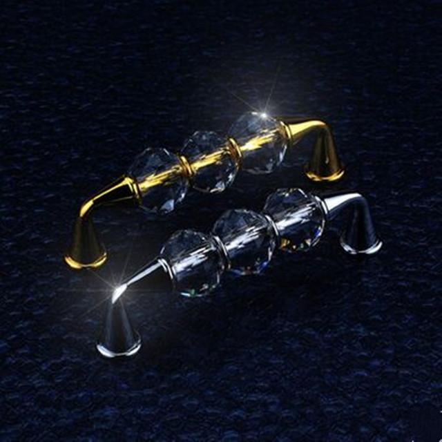 96mm de cristal de vidro do armário de cozinha puxador de gaveta knob prata dourada puxadores para móveis cômoda porta do armário puxar moda moderna