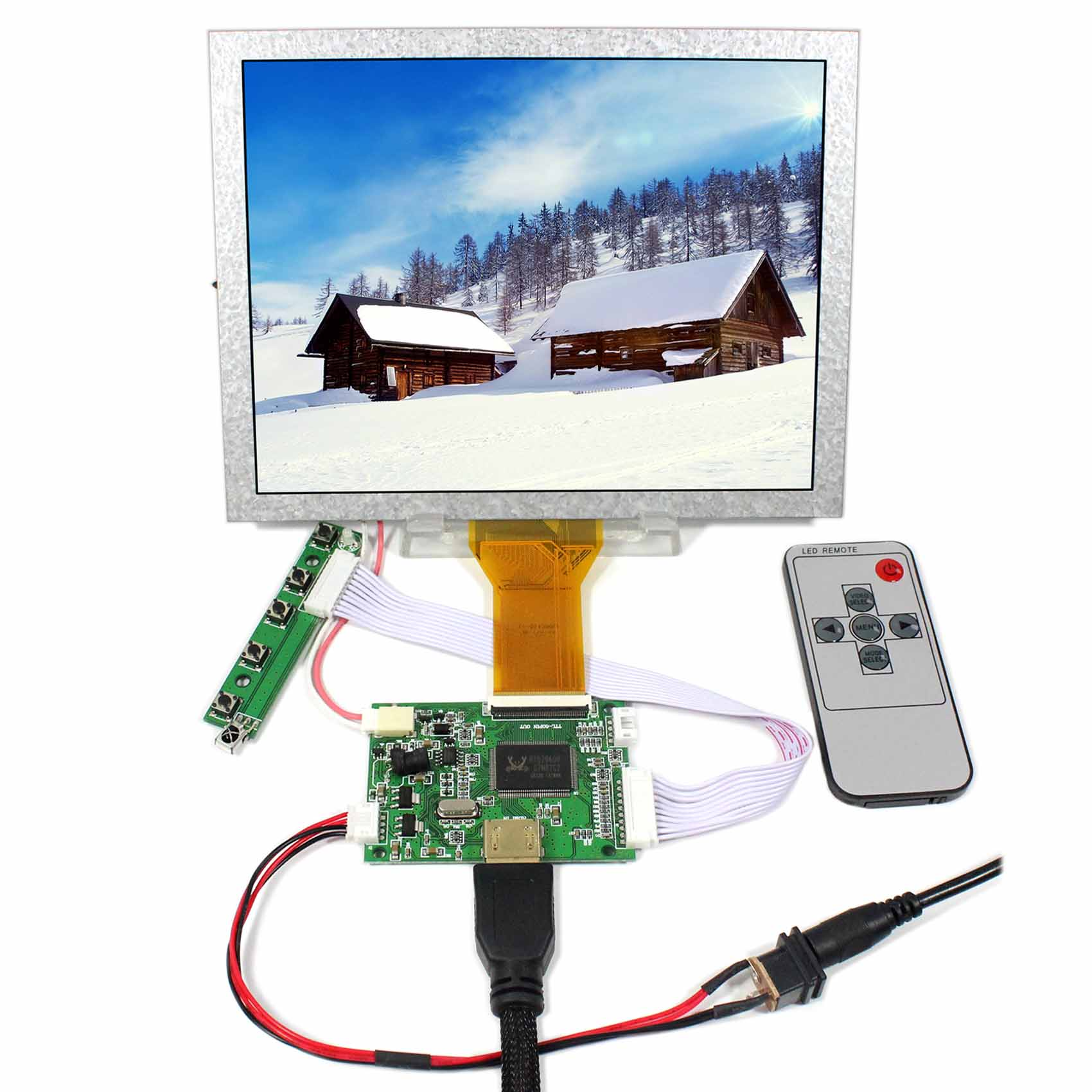 8inch 800x600 EJ080NA-05A LCD For Raspberry Pi+HDMI LCD Controller Board VS-TY50-V2 hdmi vga av audio usb fpv controller board 8inch 800x600 ej080na 05a lcd panel screen model lcd for raspberry pi