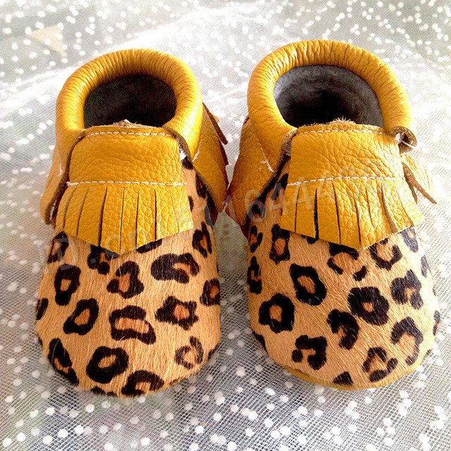 newborn leopard  baby shoes genuine leather bow fretwork fringe girls moccasins first walker soft sole toddler baby moccasins