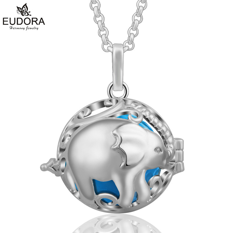 Eudora 20mm Harmony Bola Elephant Aromatherapy Locket Cage With Angel Caller Colorful Chime ball Floating Pendant Women Jewelry