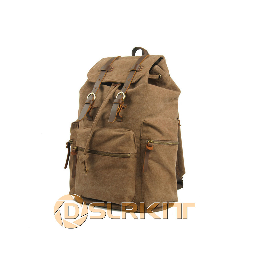 ФОТО Vintage waterproof DSLR Camera Canvas Backpack Bag Computer Bag