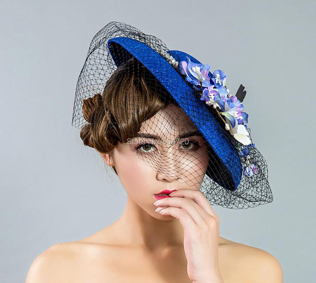Elegant Blue Flowers Victorian Hats Cap Fancy Vintage costome Women s Tea  Party 95c2f7b4648