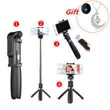 Купить с кэшбэком Selfie Stick Tripod With Bluetooth Remote Control for iPhone Tripod for Phone Gopro Sport Camera Light Monopod with Clip