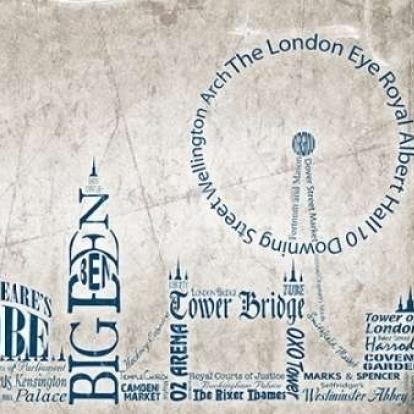 London Skyline Poster Print by Diane Stimson (9 x 12)