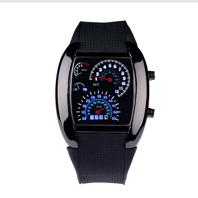 MJARTORIA Fashion Racing Car Dashboard Design Square Shaped LED Wrist Watch with Faux Leather Strap sports